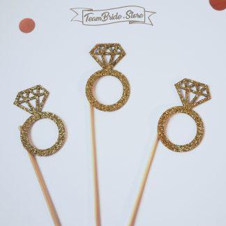 Топер Пръстен с диамант с златен брокат за десерт кескчета или торта за моминско парти и сватба 4