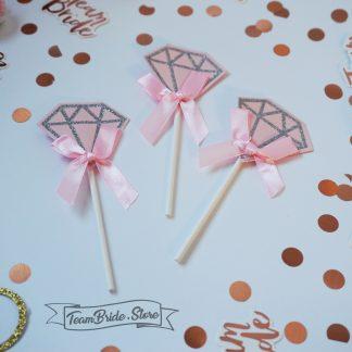 Топер Розов Диамант с панделка за десерт кескчета или торта за моминско парти и сватба 3
