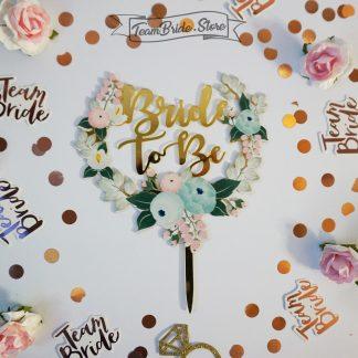 Топер злато с цветя Bride to be за моминско парти сватба 1