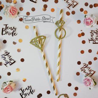 Хартиени сламки злато с пръстен с диамант за моминско парти сватба 6