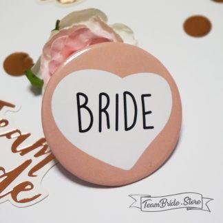 Значка със сърце Bride за моминско парти и сватба 3