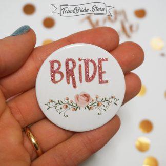 Значка с розов брокат и роза Bride за моминско парти и сватба 3