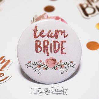 Значка с розов брокат и роза Team Bride за моминско парти и сватба 3