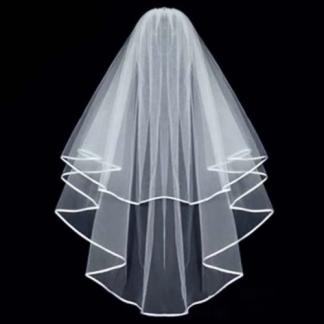 Изчистен бял воал за момиснко парти veil bachelorette party white long veil