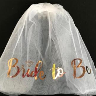 воал за моминско парти в бяло и розово злато Bride to be bachelorette party rose gold veil