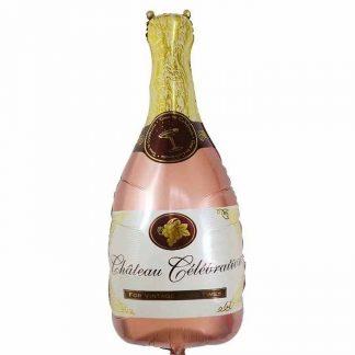 Голям балон Бутилка шампанско в цвят розово злато, предназначен за моминско парти или сватба