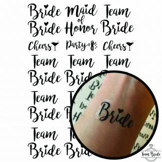 Продукт качествени черни Татуировки за моминско парти, които включват булка, кума и отбор на булката List of tattooes 15 x 10,5cm Team Bride